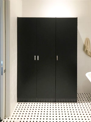 modern mudroom and utility closet