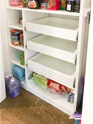 small pantry with pull outs