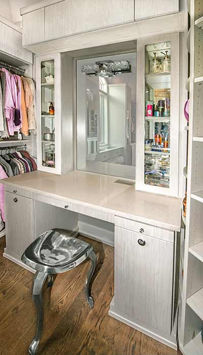Built-in closet vanity for makeup and styling hair