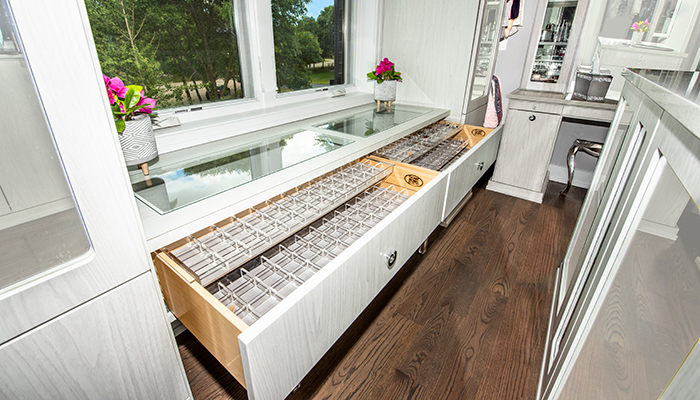Built-in closet jewelry organizers and storage
