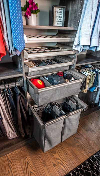 Mans closet pull-out hamper and soft cloth drawers