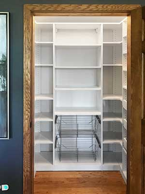 Walk-in pantry with baskets