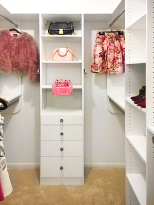 walk in closet for young woman
