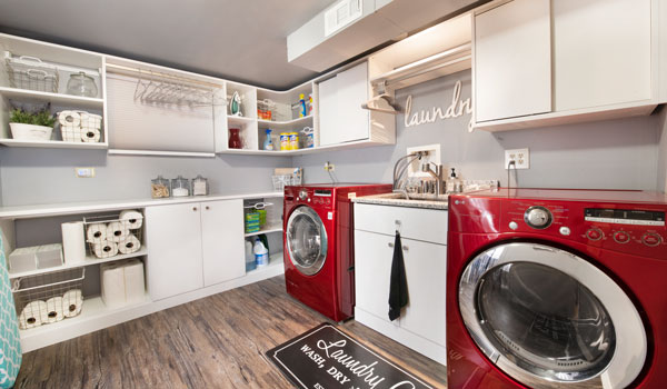 modern laundry room cabinets and shelving