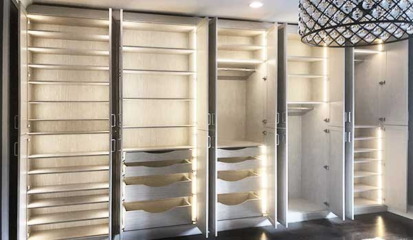 Closet Storage Ideas With Unique Lighting for Wardrobe Armoire
