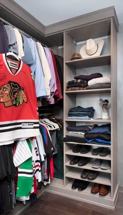 his side of master closet shelves
