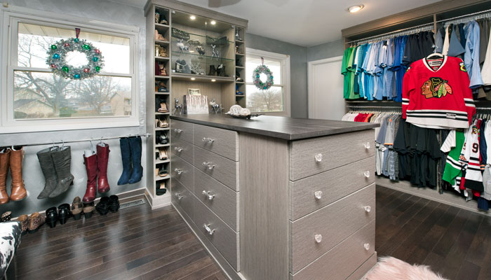 full view of master open closet