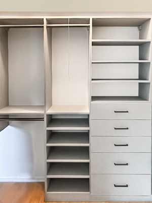 Custom reach-in closet with organizers