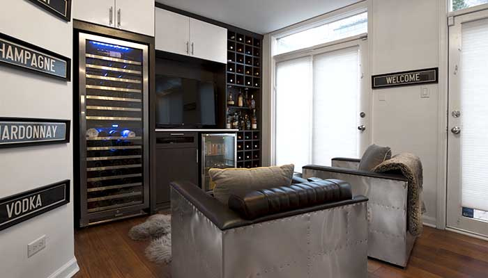 Tim Higbee wine storage and home office