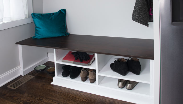 mud room bench design with storage space