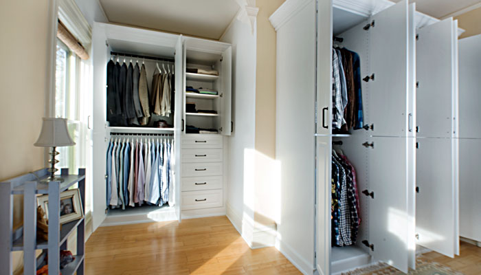 Wardrobe style closet adds a lot of storage to bedroom