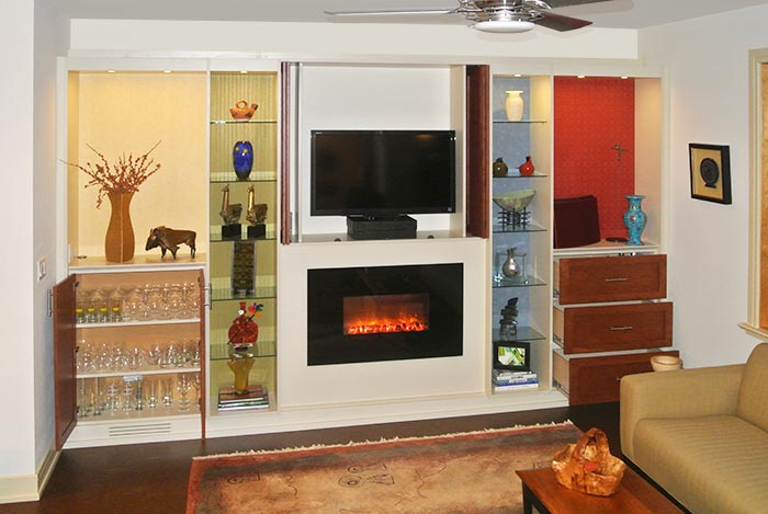 home media center solution and fireplace surround