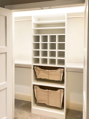 reach in closet with shoe cubbies