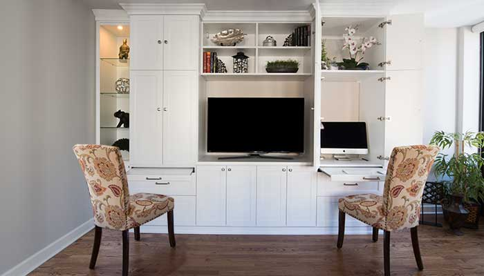 flexible home office and entertainment center can accommodate two workers