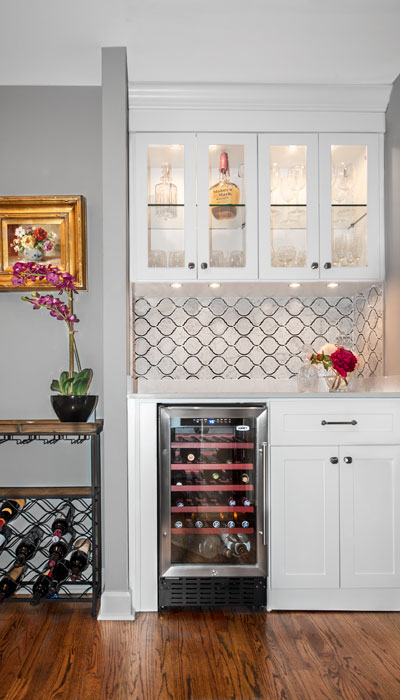 Closet converted into home wine and beverage center
