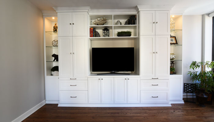front view of media center as wall unit with desk
