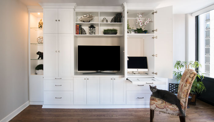 wall unit with desk is home office space