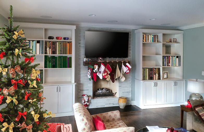 Wall unit and fireplace surround adds storage to this Chicago family room