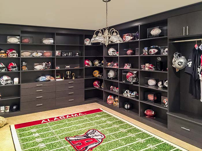 home storage shelves for walls hold football gear