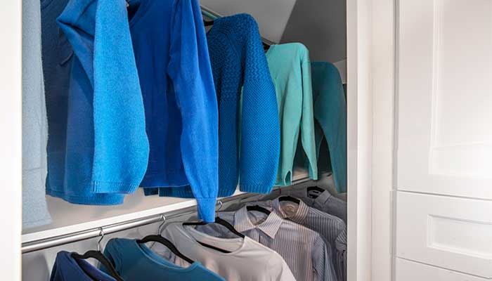Put double hang closet organizers in a small closet