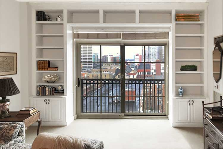 Built in bookshelves frame doorway for books and open storage