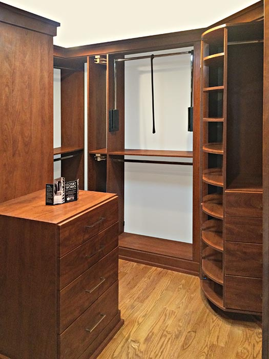 Valet custom closets design with a 360 Organizer original spinning clost organizer
