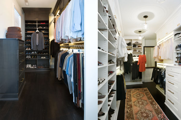 Yin Yang walk-in master closet for him and her