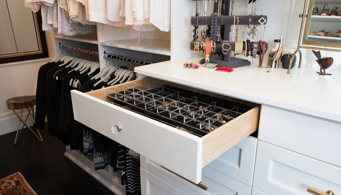 Jewelry drawer for closet