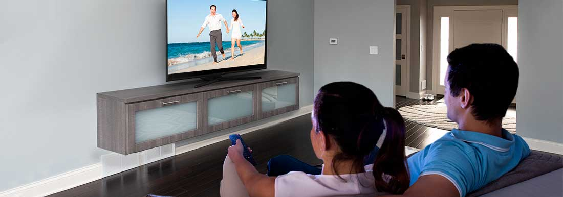 Watch TV from a custom designed floating entertainment center