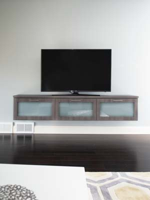 modern floating media center with wire management