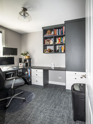 custom modern home office space with double office desks