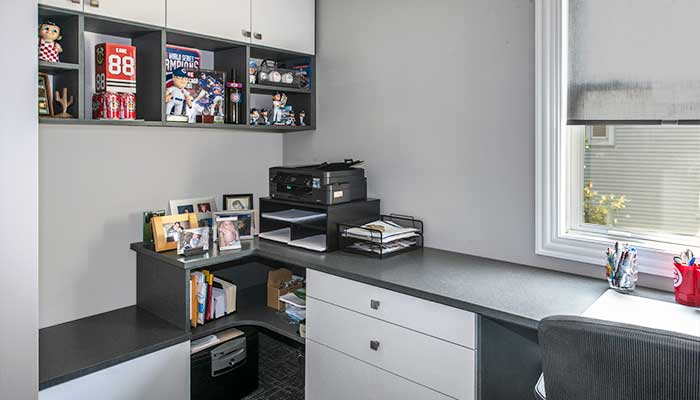 home office shelving and work space