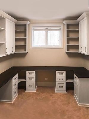 custom home office design with desk and cabinetry