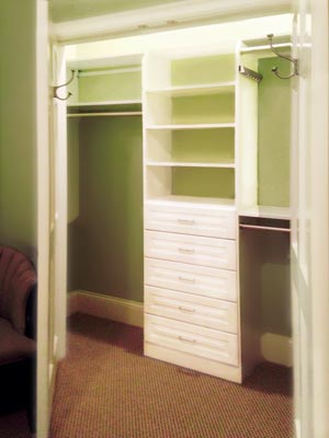 custom reach-in closet with green walls