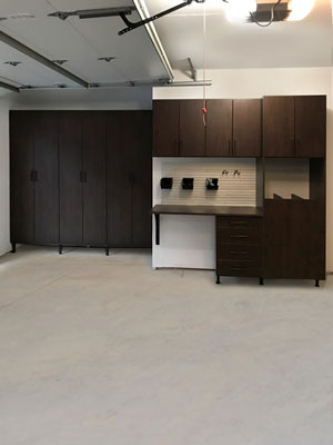 cocoa garage organization system with omni track wall track system