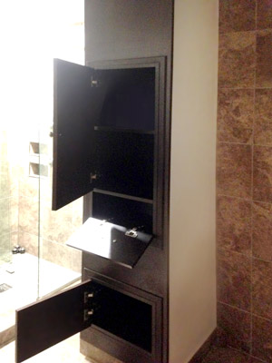 custom cocoa laminate bathroom wall unit open cabinets and shelves