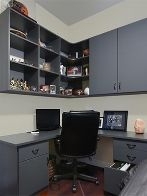 corner home office in spare bedroom
