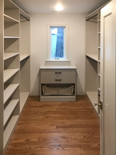 closet remodel for L-shaped closet with built-in hamper and drawers