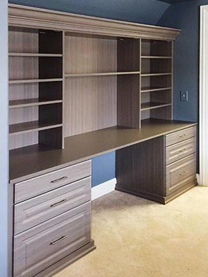 home office desk and wall unit