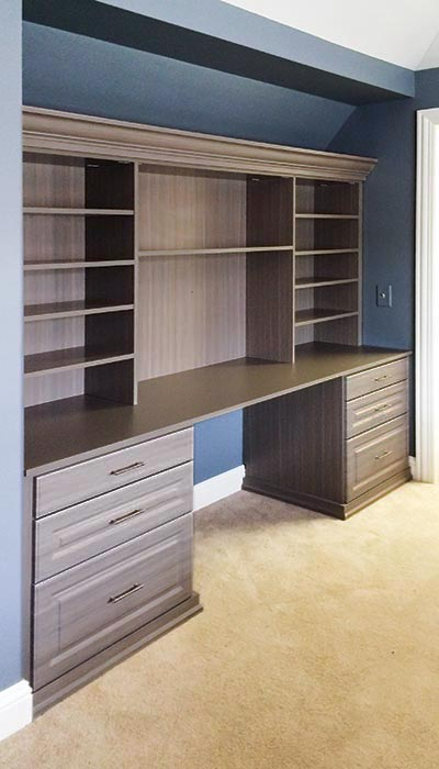 Home office wall unit with desk in Aria thermally fused laminate - TFL