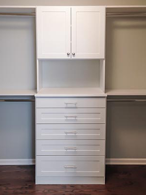 custom design for walk-in closet with cabinet hutch