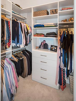 custom design for long, narrow closet