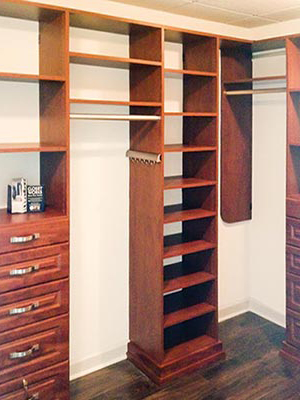 custom design for walk-in closet with more drawers than a standard dresser