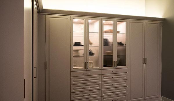 Custom wardrobe style closet system with LED closet lights