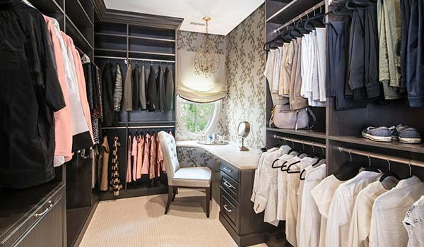 Elegant walk in closet ideas with dressing table and customized shoe spinner