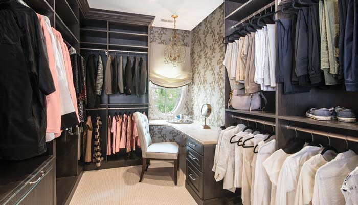 walk-in master closet and dressing room