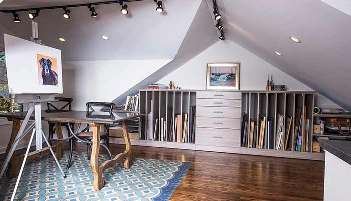 Dedicated art and craft room in the attic.