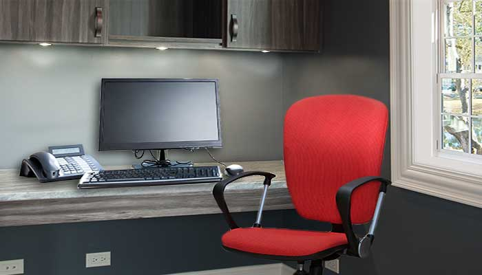 Built-in home office desk with LED lights and window