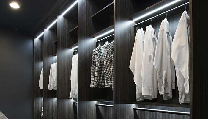 Closet rods with LED lighting.