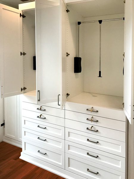 Wardrobes closets with pull down rods and pull out shelves